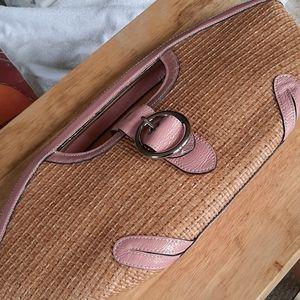 MAXXIMUM patent pink leather and straw handbag
